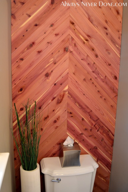 Cedar Herringbone Accent Wall