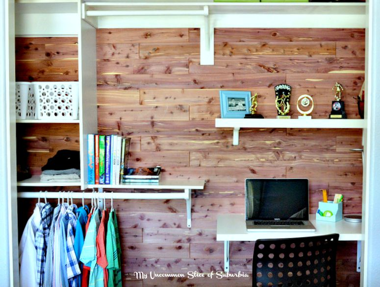 Cedar Planked Closet With Built In Desk